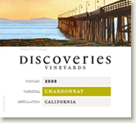 Label of Discoveries Vineyards Chardonnay showing a pier stretching out to Anacapa Island, California