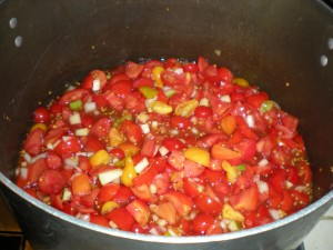 Everything in the pot, all stirred up. Let's call it pre-jam...