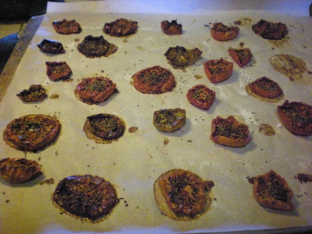 Not as pretty afterwards...I decided I'll never dry the bright green tomatoes again. Red is so much prettier!