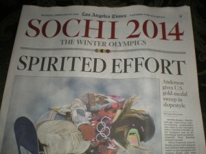 The Los Angeles Times special Olympics 2014 section of the newspaper.
