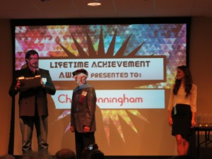Mark A. Clements presenting the Lifetime Achievement Award to Chet Cunningham, San Diego, June 21, 2014.
